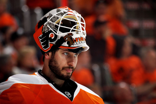 Michael Leighton #49 of the Philadelphia Flyers looks on against the Montreal Canadiens in Game 1 of the Eastern Conference Finals during the 2010 NHL Stanley Cup Playoffs at Wachovia Center on May 16, 2010 in Philadelphia, Pennsylvania.