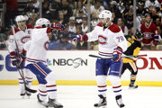 Andrei Markov #79 of the Montreal Canadiens celebrates with P.K. Subban #76 after scoring in the first period during the game against the Pittsburgh Penguins at Consol Energy Center on November 11, 2015 in Pittsburgh, Pennsylvania.