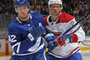 Jacob de la Rose #25 of the Montreal Canadiens skates against Tyler Bozak #42 of the Toronto Maple Leafs during an NHL game at the Air Canada Centre on March 17, 2018 in Toronto, Ontario, Canada. The Maple Leafs defeated the Canadiens 4-0.
