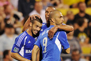 Felipe Martins #7 of the Montreal Impact and Marco Di Vaio #9 of the Montreal Impact celebrate Di Vaio's goal against the Columbus Crew in the second half on September 1, 2012 at Crew Stadium in Columbus, Ohio. Columbus defeated Montreal 2-1.