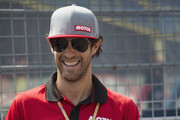 """Bruno Senna  of Brazil  smiles during the pre-event """"A race between a Yamaha M1 and a McLaren GT3"""" during the MotoGP Netherlands - Preview on June 22, 2017 in Assen, Netherlands."""