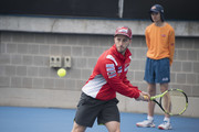 Andrea Dovizioso of Italy and Ducati Team  plays tennis during the MotoGP of Australia - Previews during a media call ahead of the 2018 MotoGP of Australia at  on October 24, 2018 in Melbourne, Australia.