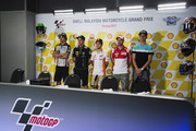 (L-R) Franco Morbidelli of Italy and EG 00 Marc VDS, Johann Zarco of France and Monster Yamaha Tech 3, Dani Pedrosa of Spain and Repsol Honda Team and Andrea Dovizioso of Italy and Ducati Team and Joan Mir of Spain and Leopard Racing pose during the press conference  at the end of the MotoGP qualifying practice during the MotoGP Of Malaysia - Qualifying at Sepang Circuit on October 28, 2017 in Kuala Lumpur, Malaysia.