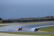 Valentino Rossi of Italy and Movistar Yamaha MotoGP leads Marc Marquez of Spain and Repsol Honda Team during the 2016 MotoGP Test Day at Phillip Island Grand Prix Circuit on February 17, 2016 in Phillip Island, Australia.