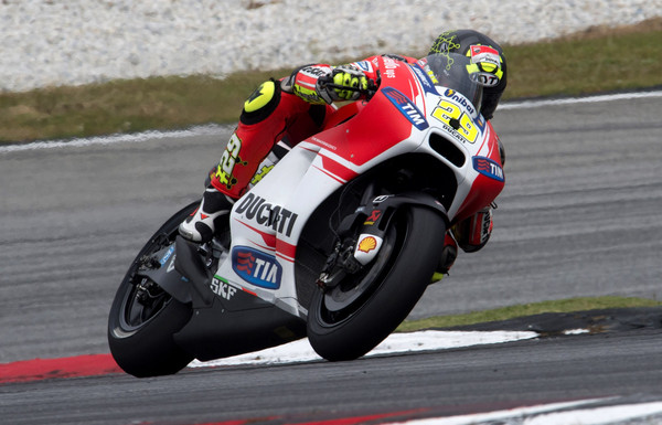 Andrea Iannone of Italy and Ducati Team heads down a straight during the MotoGP Tests in Sepang ...