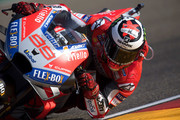Jorge Lorenzo of Spain and Ducati Team rounds the bend during the qualifying practice during the MotoGP of Aragon - Qualifying at Motorland Aragon Circuit on September 22, 2018 in Alcaniz, Spain.
