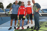 Australian tennis performance coach Francois Vogelsberger, Andrea Dovizioso of Italy and Ducati Team, Jack Miller of Australia and Alma Pramac Racing and Australian Davis Cup Captain Leyton Hewitt pose during a media call ahead of the 2018 MotoGP of Australia at Melbourne Park on October 24, 2018 in Melbourne, Australia.