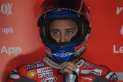 Andrea Dovizioso of Italy and Ducati Team looks on in box during the MotoGP of Japan - Qualifying at Twin Ring Motegi on October 20, 2018 in Motegi, Japan.