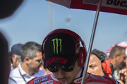 Jorge Lorenzo of Spain and Ducati Team prepares to start on the grid  during the MotoGP race during the MotoGP of San Marino - Race at Misano World Circuit on September 9, 2018 in Misano Adriatico, Italy.