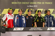 (L-R) Valentino Rossi of Italy and Ducati Marlboro Team, Jorge Lorenzo of Spain and Yamaha Factory Team, Casey Stoner of Australia and Repsol Honda Team, Cal Crutchlow of Great Britain and Monster Yamaha Tech 3 and Randy De Puniet of France and Power Electronics Aspar pose during the press conference pre-event of the MotoGp Of France on May 17, 2012 in Le Mans, France.