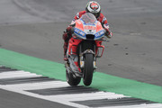 Jorge Lorenzo of Spain and Ducati Team heads down a straight during the wurm-up during the MotoGp Of Great Britain - Race at Silverstone Circuit on August 26, 2018 in Northampton, England.
