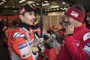 Jorge Lorenzo of Spain and Ducati Team speaks in box waiting the start of the MotoGP race during the MotoGp Of Great Britain - Race at Silverstone Circuit on August 26, 2018 in Northampton, England.