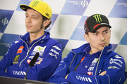 Jorge Lorenzo of Spain and Movistar Yamaha MotoGP and Valentino Rossi of Italy and Movistar Yamaha MotoGP (L) look on during the press conference during the MotoGp of Qatar - Press Conference at Losail Circuit on March 16, 2016 in Doha, Qatar.