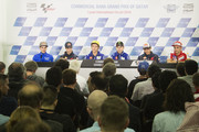 (L-R) Maverick Vinales of Spain and Team Suzuki ECSTAR,  Dani Pedrosa of Spain and Repsol Honda Team, Valentino Rossi of Italy and Movistar Yamaha MotoGP, Jorge Lorenzo of Spain and Movistar Yamaha MotoGP, Marc Marquez of Spain and Repsol Honda Team and  Andrea Iannone of Italy and Ducati Team look on during the press conference during the MotoGp of Qatar - Press Conference at Losail Circuit on March 16, 2016 in Doha, Qatar.