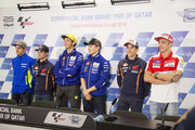 (L-R) Maverick Vinales of Spain and Team Suzuki ECSTAR,  Dani Pedrosa of Spain and Repsol Honda Team, Valentino Rossi of Italy and Movistar Yamaha MotoGP, Jorge Lorenzo of Spain and Movistar Yamaha MotoGP, Marc Marquez of Spain and Repsol Honda Team and  Andrea Iannone of Italy and Ducati Team pose during the press conference during the MotoGp of Qatar - Press Conference at Losail Circuit on March 16, 2016 in Doha, Qatar.