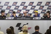 (L-R) Alex Rins of Spain and Paginas Amarillas HP40, Jorge Lorenzo of Spain and Movistar Yamaha MotoGP,  Marc Marquez of Spain and Repsol Honda Team, Valentino Rossi of Italy and Movistar Yamaha MotoGP and Philipp Oettl of Germany and Schedl GP Racing pose during the press conference during the MotoGp Red Bull U.S. Grand Prix of The Americas - Qualifying at Circuit of The Americas on April 9, 2016 in Austin, Texas.