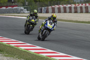 Valentino Rossi of Italy and Yamaha Factory Racing leads Cal Crutchlow of Great Britain and Monster Yamaha Tech 3 during the MotoGp Tests at Circuit de Catalunya on June 17, 2013 in Montmelo, Spain.