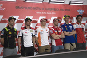 (L-R) Johann Zarco of France and Monster Yamaha Tech 3, Cal Crutchlow of Great Britain and LCR Honda, Marc Marquez of Spain and Repsol Honda Team, Andrea Dovizioso of Italy and Ducati Team, Valentino Rossi of Italy and Movistar Yamaha MotoGP and  Danilo Petrucci of Italy and  Pramac Racing  pose during the press conference pre-event during the MotoGp of Argentina - Previews on April 5, 2018 in Rio Hondo, Argentina.