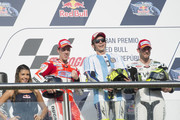 (L-R)  Andrea Dovizioso of Italy and Ducati Team, Valentino Rossi of Italy and Movistar Yamaha MotoGP and  Cal Crutchlow of Great Britain and CWM LCR Honda. pose on the podium at the end of the MotoGP race during the MotoGp of Argentina - Race at  on April 19, 2015 in Rio Hondo, Argentina.