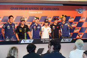 (L-R) Aleix Espargaro of Spain and Power Electronics Aspar, Cal Crutchlow of Great Britain and Monster Yamaha Tech 3,  Jorge Lorenzo of Spain and Yamaha Factory Racing, Dani Pedrosa of Spain and Repsol Honda Team, Marc Marquez of Spain and Repsol Honda Team and Valentino Rossi of Italy and Yamaha Factory Racing smile during the press conference pre-event during the MotoGp Of Catalunya - Previews at Circuit de Catalunya on June 13, 2013 in Montmelo, Spain.