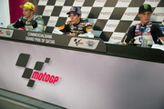 (L-R) Andrea Iannone of Italy and Speed Master, Marc Marquez of Spain and Team Catalunya Caixa Repsol  and Pol Espargaro of Spain and Pons 40 HP Tuenti speaks during the press conference  at the end of the Moto2 race of MotoGP of Qatar at Losail Circuit on April 8, 2012 in Doha, Qatar.