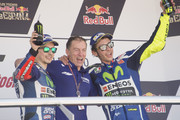 (L-R) Jorge Lorenzo of Spain and Movistar Yamaha MotoGP,  Lin Jarvis of Britain and Yamaha Factory Team and Valentino Rossi of Italy and Movistar Yamaha MotoGP  on the podium at the end of the MotoGP race during the MotoGp of Spain - Race at Circuito de Jerez on April 24, 2016 in Jerez de la Frontera, Spain.