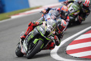 Tom Sykes of Great Britain and KAWASAKI RACING TEAM WorldSBK leads the field during the Superbike Race 1 during the Motul FIM Superbike World Championship - Race One at Donington Park on May 26, 2018 in Castle Donington, England.