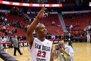 D.J. Gay #23 of the San Diego State Aztecs acknowledges the crowd as he leaves the court after hitting a game-winning shot during a semifinal game of the Conoco Mountain West Conference Basketball tournament against the UNLV Rebels at the Thomas & Mack Center March 11, 2011 in Las Vegas, Nevada. San Diego State won 74-72.