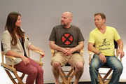 (L-R) Host Camille Ford, director Jeremy Snead and video game designer Cliff Bleszinski attend Movies On Demand 'Video Games: The Movie' Interviews during Comic-Con 2014 at Hard Rock Hotel San Diego on July 25, 2014 in San Diego, California.