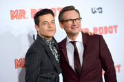 """Rami Malek and Christian Slater attend the """"Mr. Robot"""" Season 4 Premiere on October 01, 2019 in New York City."""