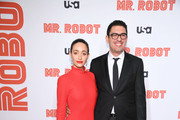 """Emmy Rossum and Sam Esmail attend the """"Mr. Robot"""" Season 4 Premiere on October 01, 2019 in New York City."""
