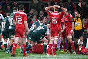 Leicester celebrate as Michael Fitzgerald scores the second try during the European Rugby Champions Cup match between Munster and Leicester Tigers at Thomond Park on December 12, 2015 in Limerick, Ireland.