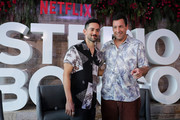 Luis Gerardo Mendez and Adam Sandler pose during the press conference of the new Netflix movie 'Murder Mystery' at St. Regis Hotel on June 13, 2019 in Mexico City, Mexico.