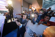 Adam Sandler poses for selfies with fans on the red carpet before 'Murder Mystery' premiere at Antara Polanco Fashion Hall on June 12, 2019 in Mexico City, Mexico.