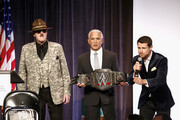 """(L-R) Sgt. Slaughter, Ricky """"The Dragon"""" Steamboat, and Harry Santa-Olalla speak onstage during the Muscular Dystrophy Association Celebrates 22 Years Of Annual New York Muscle Team Gala With MVP Derek Jeter And More on December 3, 2018 in New York City."""