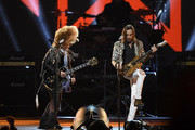 (L-R) Melissa Etheridge and Nuno Bettencourt perform onstage at MusiCares Person of the Year honoring Aerosmith at West Hall at Los Angeles Convention Center on January 24, 2020 in Los Angeles, California.