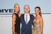 Kate Peck, Richard Umbers and Rachael Finch  arrive ahead of the Myer Spring 2015 Fashion Launch on August 13, 2015 in Sydney, Australia.