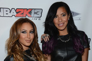 "Adrienne Bailon and  Julissa Bermudez attend ""NBA 2K13"" Premiere Launch Party at 40 / 40 Club on September 26, 2012 in New York City."