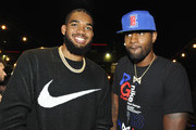 Karl-Anthony Townes (L) and Paul George attend the NBA 2K20: Welcome to the Next on September 05, 2019 in Los Angeles, California.