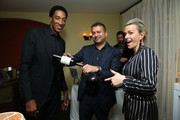 (L-R) Scottie Pippen, Kamal Hotchandani, and  Dorothee Henrio attend the NBA All Star Dinner Honoring Scottie Pippen on February 15, 2018 in Bel Air, California.