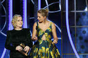 In this handout photo provided by NBCUniversal Media, LLC, Amy Poehler and Taylor Swift speak onstage during the 76th Annual Golden Globe Awards at The Beverly Hilton Hotel on January 5, 2020 in Beverly Hills, California.