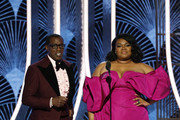 In this handout photo provided by NBCUniversal Media, LLC,  Wesley Snipes and Da'Vine Joy Randolph speak onstage during the 77th Annual Golden Globe Awards at The Beverly Hilton Hotel on January 5, 2020 in Beverly Hills, California.