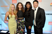 """(L-R) Actors Julie Marie Berman, Rachel DiPillo, Marlyne Barrett, and Brian Tee attend a premiere party for NBC's 'Chicago Fire', 'Chicago P.D.' and 'Chicago Med' at STK Chicago on November 9, 2015 in Chicago, Illinois. NBC has renewed popular dramas """"Chicago Fire"""" and """"Chicago P.D."""" for the 2016-17 season. """"Chicago Fire"""" will be entering its fifth season while """"Chicago P.D."""" will begin its fourth season."""