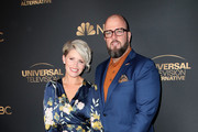 Rachel Reichard and Chris Sullivan attends the NBC and Universal EMMY nominee celebration at Tesse Restaurant on August 13, 2019 in West Hollywood, California.