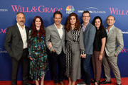 """(L-R) Co-Creator/executive producer David Kohan, actors Megan Mullally, Eric McCormack, Debra Messing, Sean Hayes, Tracey Pakosta, Co-president, Scripted Programming for NBC Entertainment and Co-creator/executive producer Max Mutchnick arrive at NBC's """"Will & Grace"""" FYC Event at the Harmony Gold Theatre on June 9, 2018 in Los Angeles, California."""