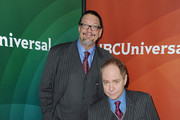 Magicians Penn Jillette and Teller arrive at NBCUniversal's 2015 Winter TCA Tour - Day 1 at The Langham Huntington Hotel and Spa on January 15, 2015 in Pasadena, California.