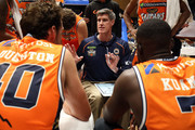 Cairns Taipans Head Coach Mike Kelly talks to his players during the NBL Blitz pre-season match between the Sydney Kings and Cairns Taipans at Bendigo Stadium on September 20, 2018 in Bendigo, Australia.