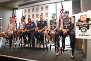 Coach Dean Vickerman, Josh Boone and Chris Goulding of Melbourne United along with Mitch Creek,  Josh Childress and coach Joey Wright of the Adelaide 36ers speak during the NBL Grand Final media opportunity at 333 Collins St on March 15, 2018 in Melbourne, Australia.