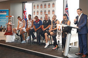 NBL CEO Jeremy Loeliger speaks as coach Dean Vickerman, Josh Boone and Chris Goulding of Melbourne United along with Mitch Creek,  Josh Childress and coach Joey Wright of the Adelaide 36ers look on during the NBL Grand Final media opportunity at 333 Collins St on March 15, 2018 in Melbourne, Australia.