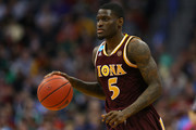 A.J. English #5 of the Iona Gaels drives the ball against the Iowa State Cyclones  during the first round of the 2016 NCAA Men's Basketball Tournament at the Pepsi Center on March 17, 2016 in Denver, Colorado.